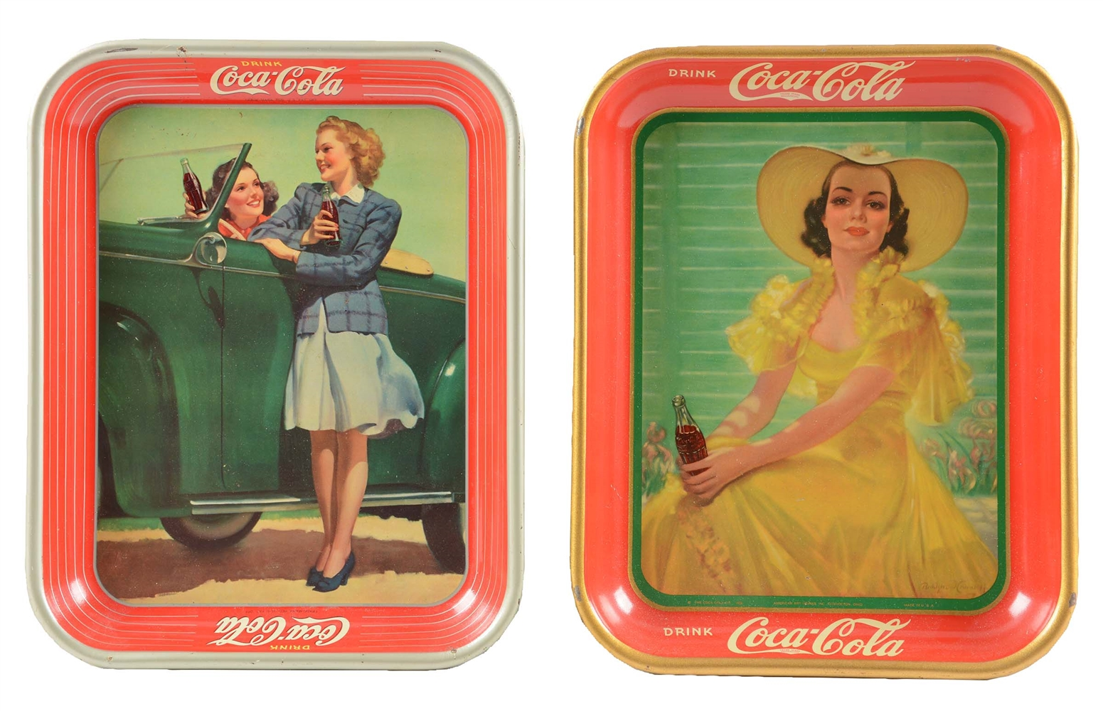 Lot Of 2: 1938 & 1942 Coca-Cola Advertising Trays.