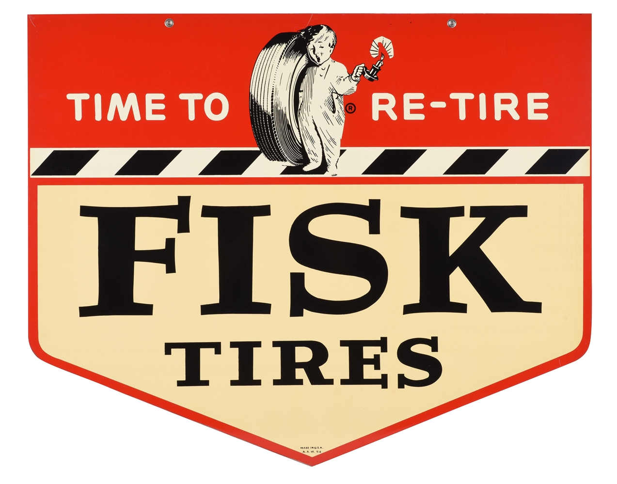 Fisk Tires Time To Re-Tire Tin Sign with Fisk Boy Graphic.