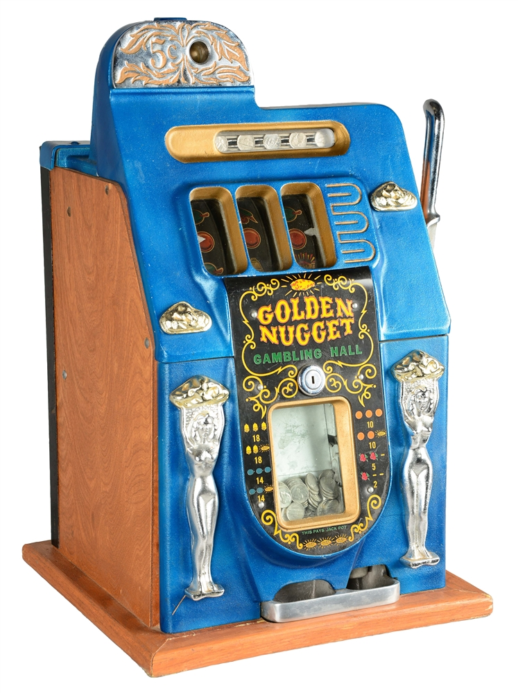 **REPRODUCTION 5¢ MILLS NOVELTY CO. GOLDEN NUGGET SLOT MACHINE.
