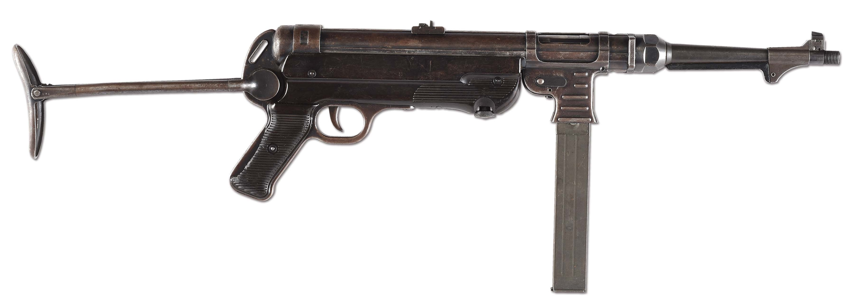 (N) MATCHING ORIGINAL GERMAN WWII MP-40 MACHINE GUN (CURIO & RELIC) (DEACTIVATED STATUS).
