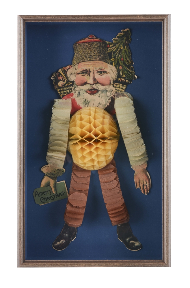 Paper Santa Decoration In Shadowbox Frame.
