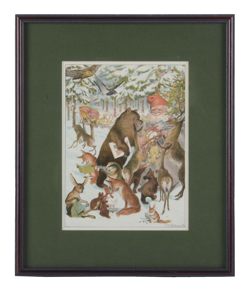 Framed print of Santa with Woodland Animals.