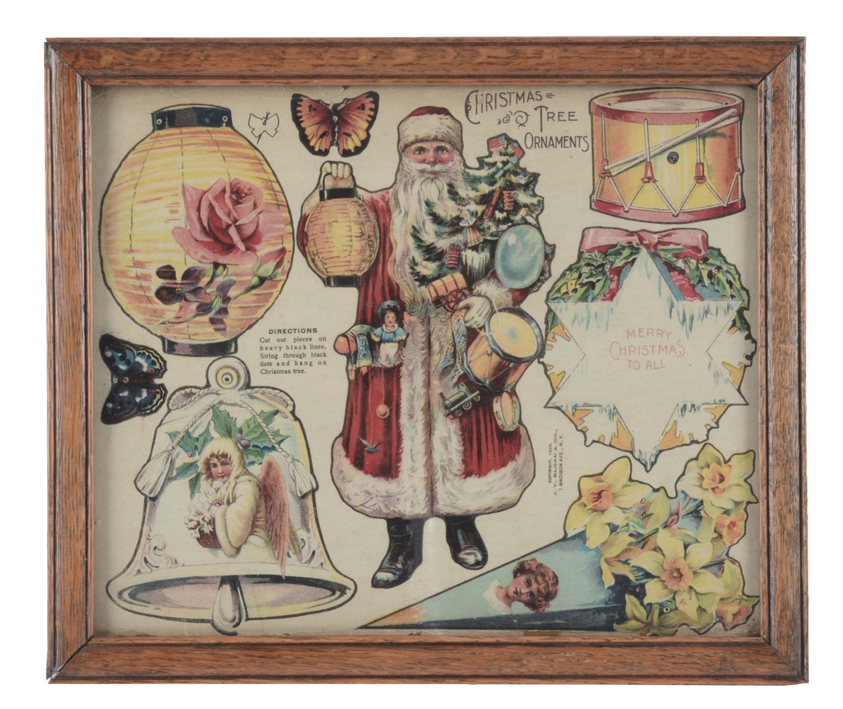 Framed Sheet of Christmas Ornaments.
