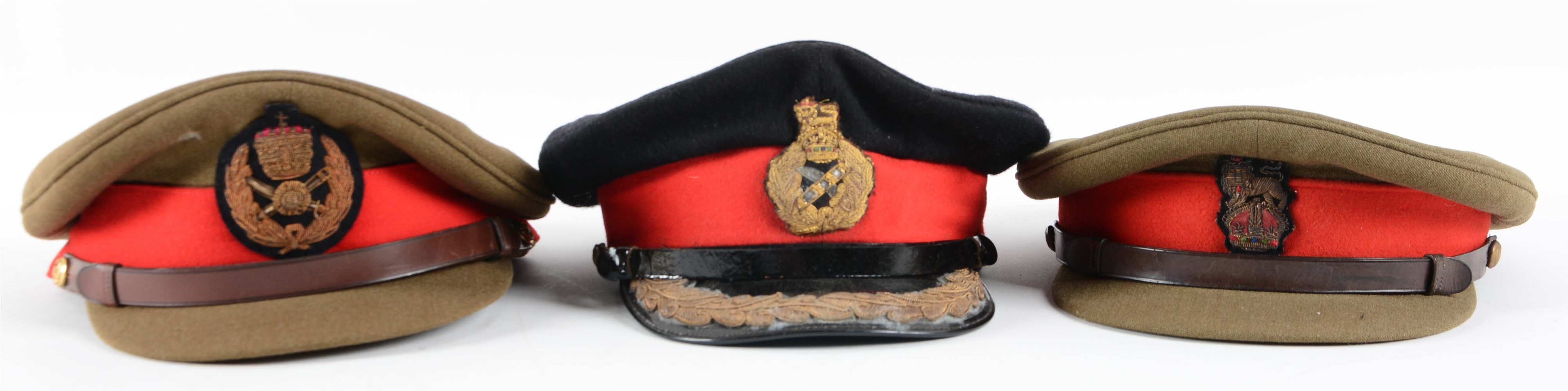 Lot Of 3: British & Commonwealth Officers Peaked Caps.