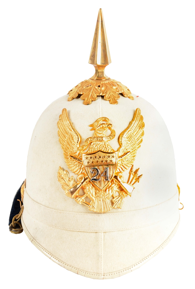 Cased U.S. Army Model 1881 24th Infantry Officers White Summer Dress Helmet.