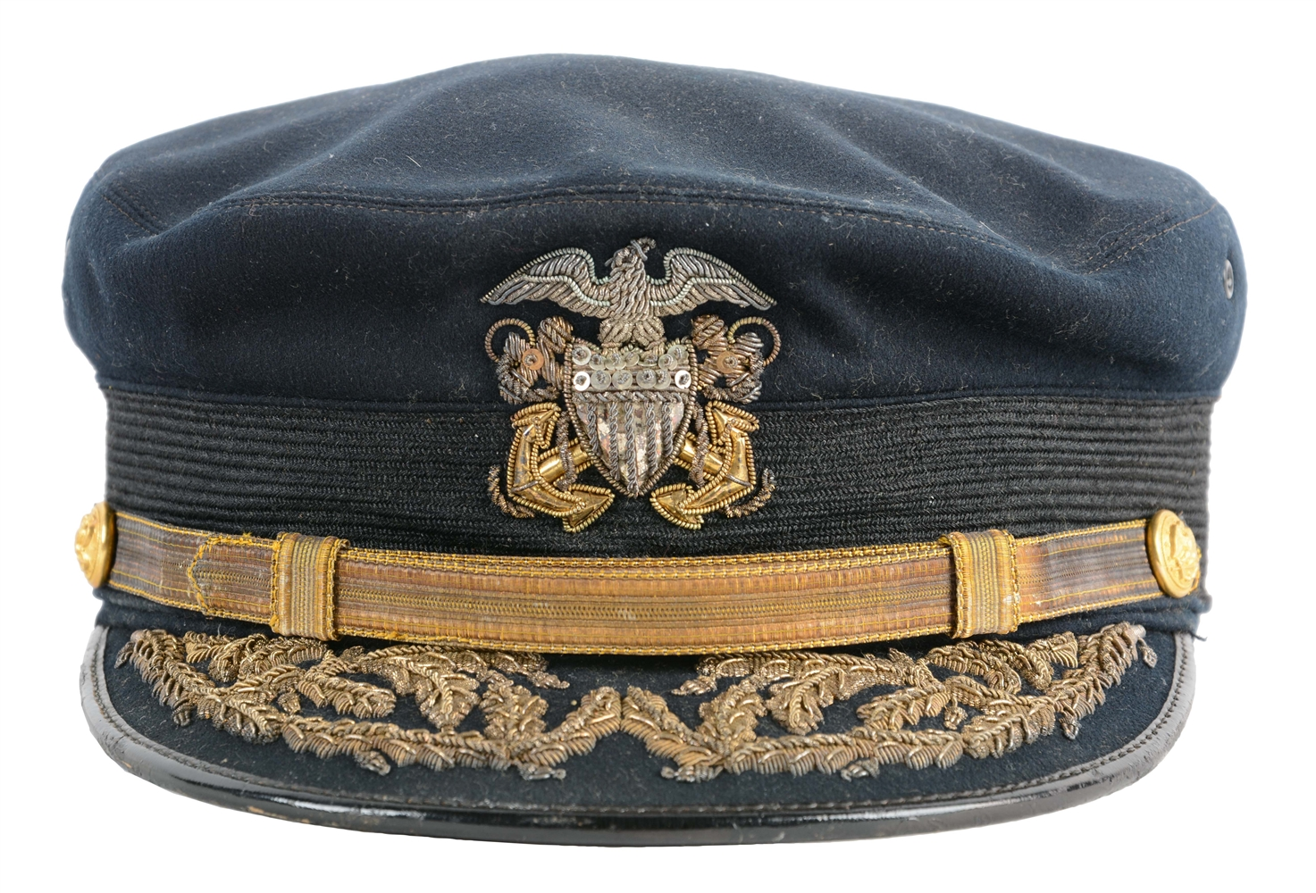 Identified Spanish-American War Period Rear Admirals Visor Cap.
