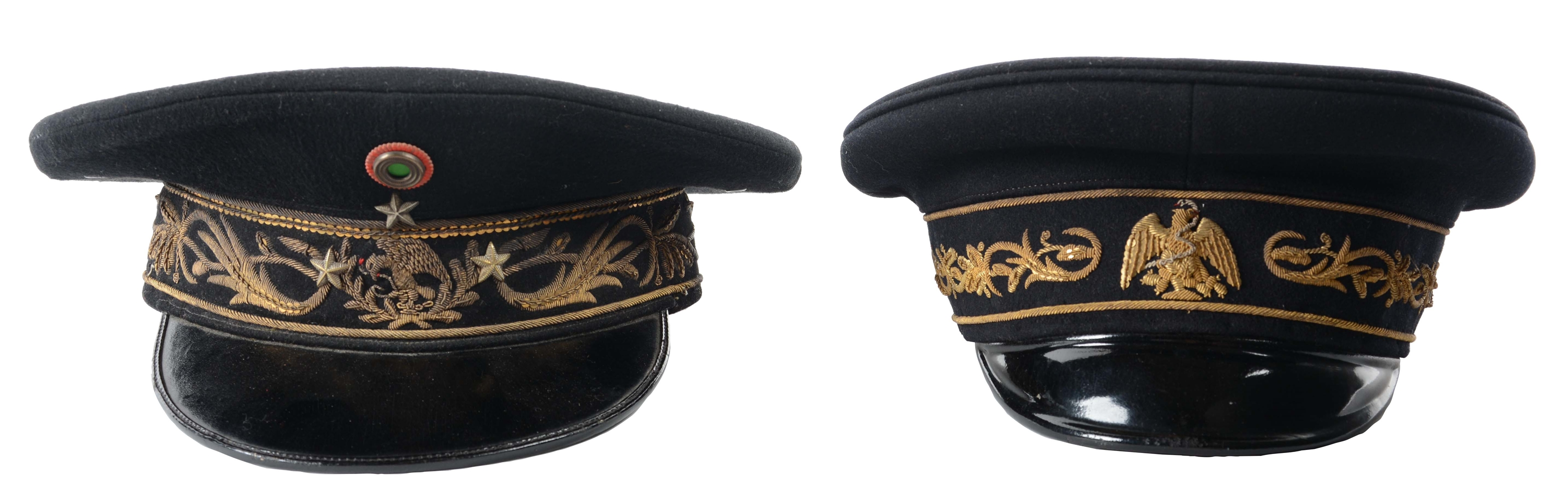 Lot Of 2: Mexican Generals Visor Caps.