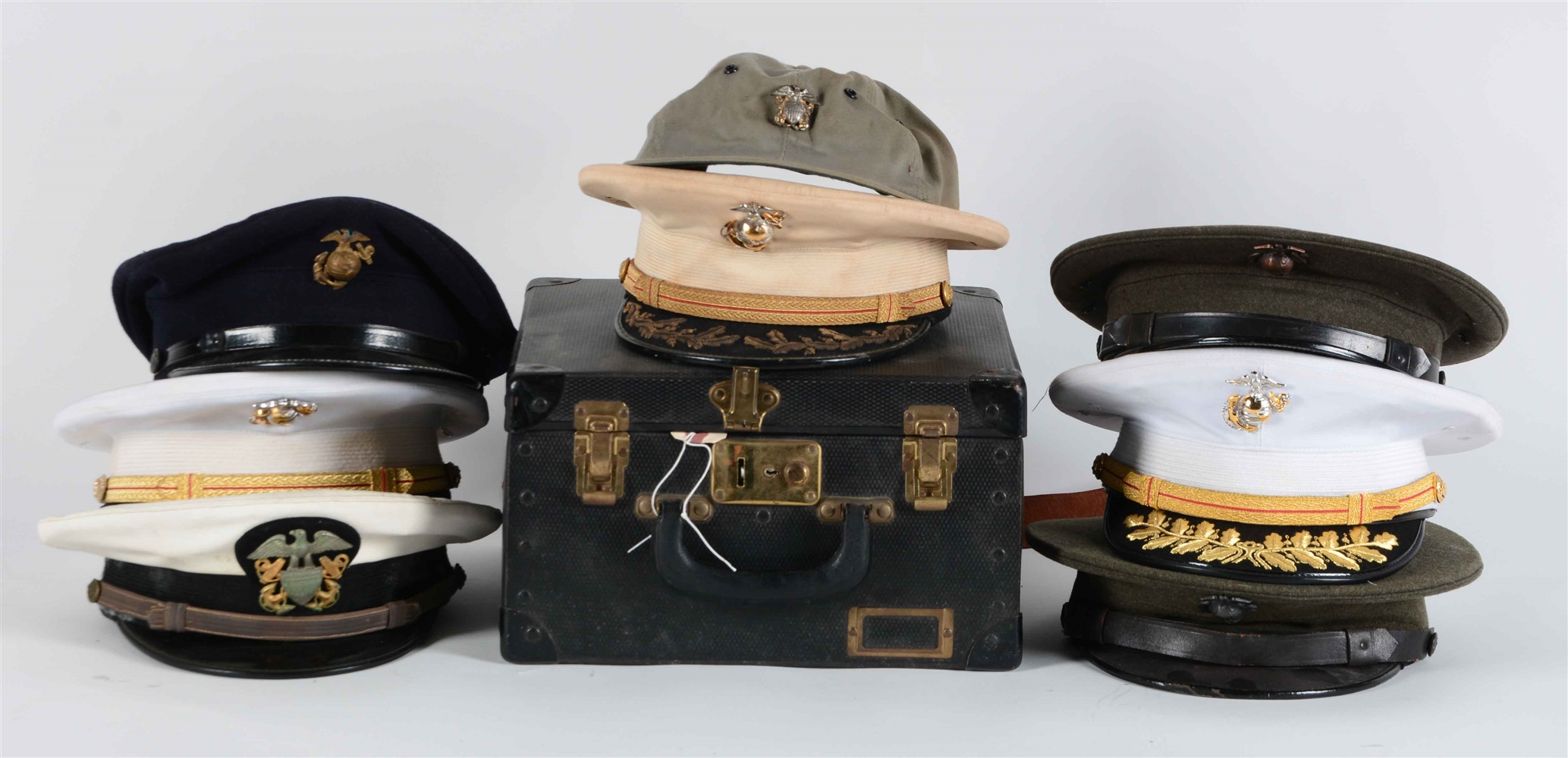 Lot Of 9: USN & USMC Visor Caps.