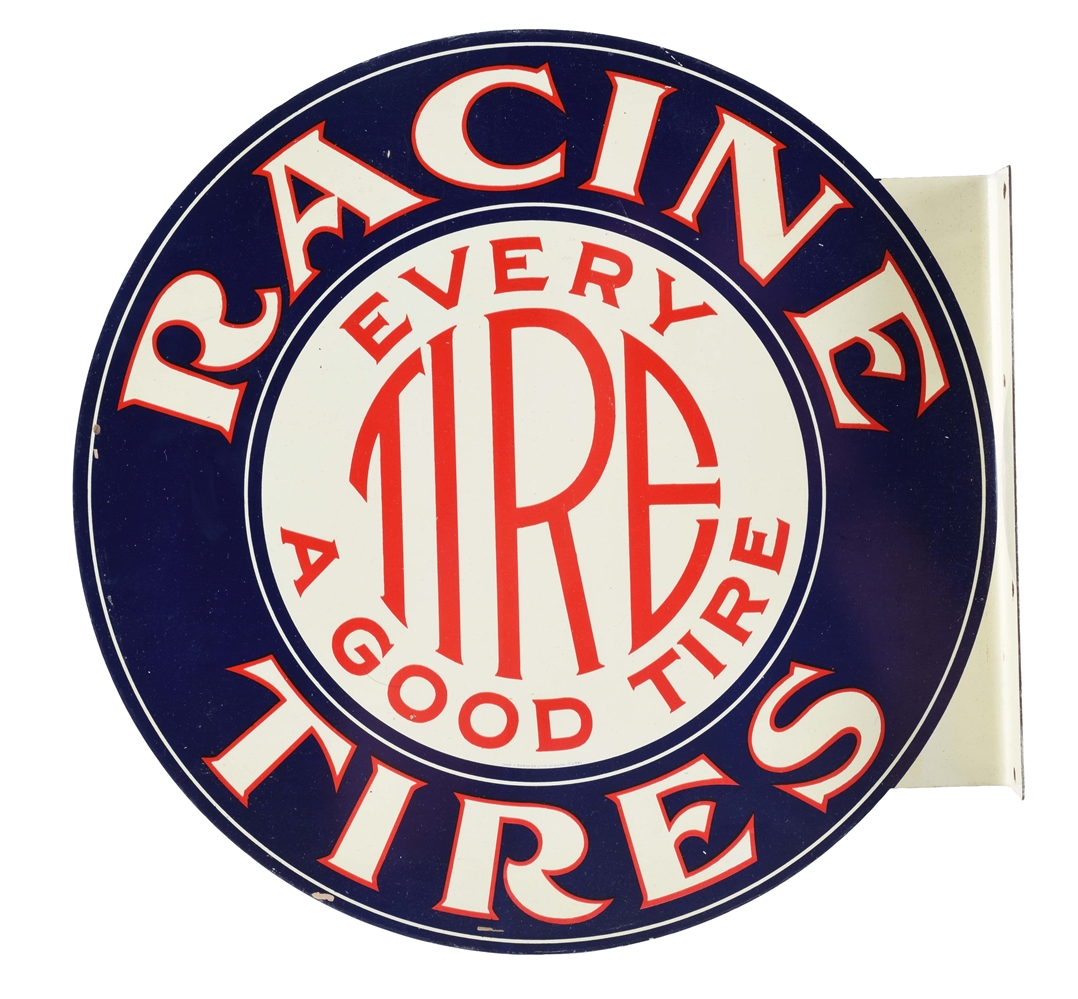 NOS RACINE TIRES TIN FLANGE SIGN.