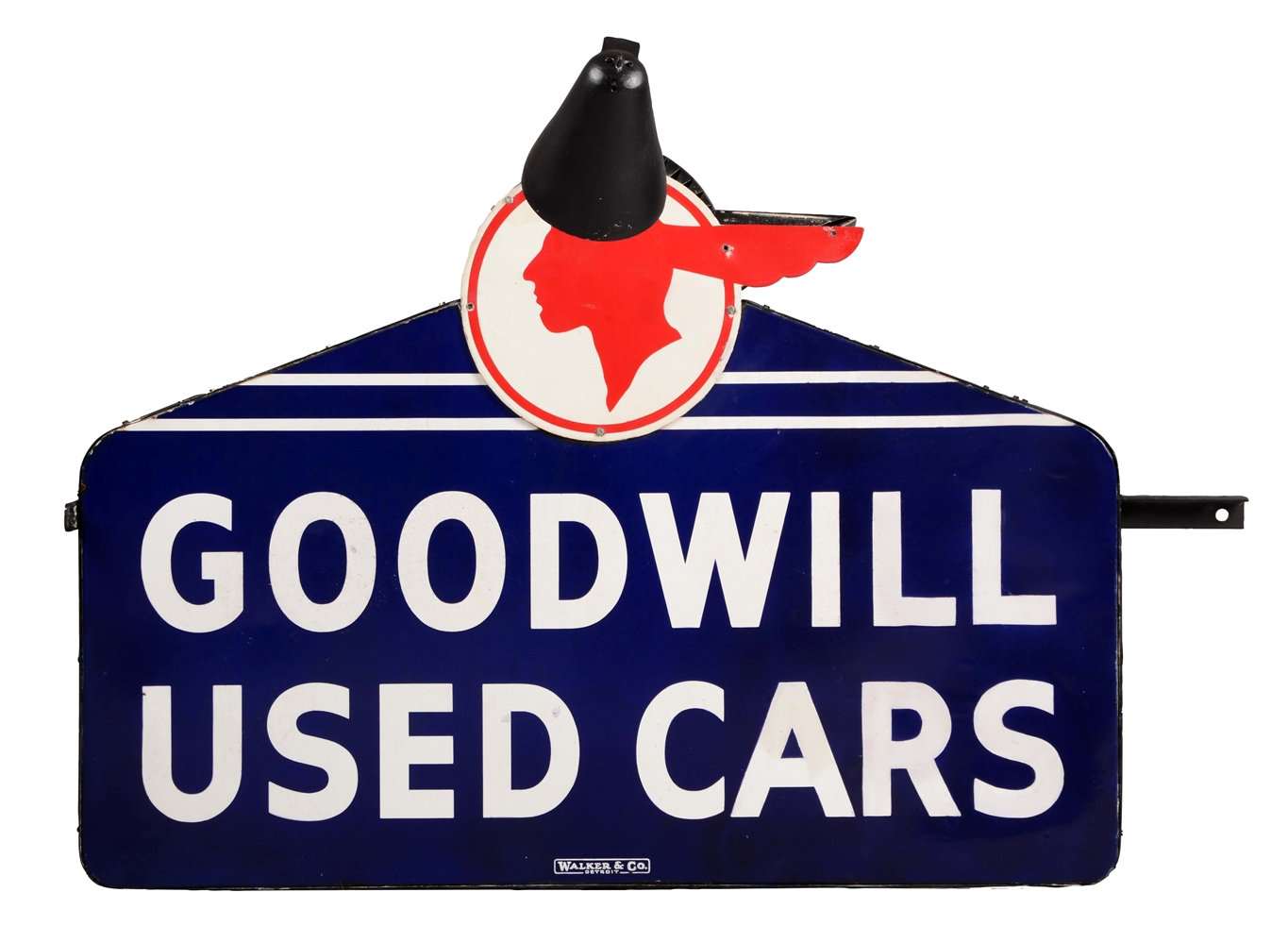 Goodwill Used Cars Die-Cut Porcelain Dealership Sign On Metal Can with Light Sconces.