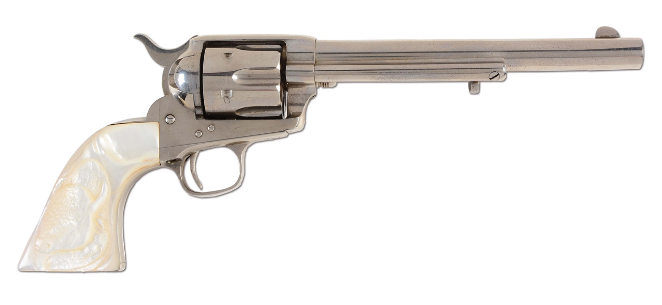 (A) NEAR NEW PHENOMENAL CONDITION NICKEL COLT SINGLE ACTION ARMY REVOLVER (1876).