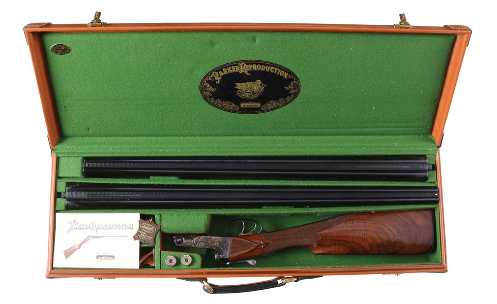 (M) VERY RARE PARKER REPRODUCTION BHE 20 GAUGE SHOTGUN WITH EXTRA BARRELS AND CASE