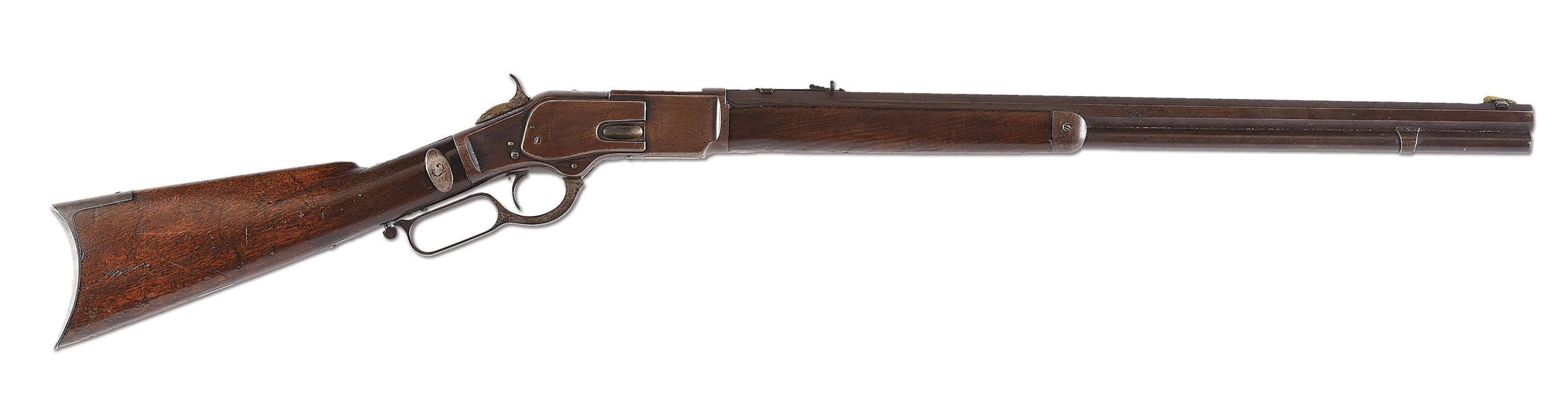 (A) WINCHESTER MODEL 1873 LEVER ACTION RIFLE ATTRIBUTED TO CHIEF RAIN-IN-THE-FACE.