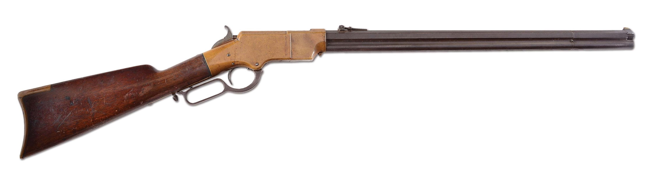 "(A) HENRY MODEL 1860 LEVER ACTION RIFLE, MARKED ""W. F. GILBERT 1870""."