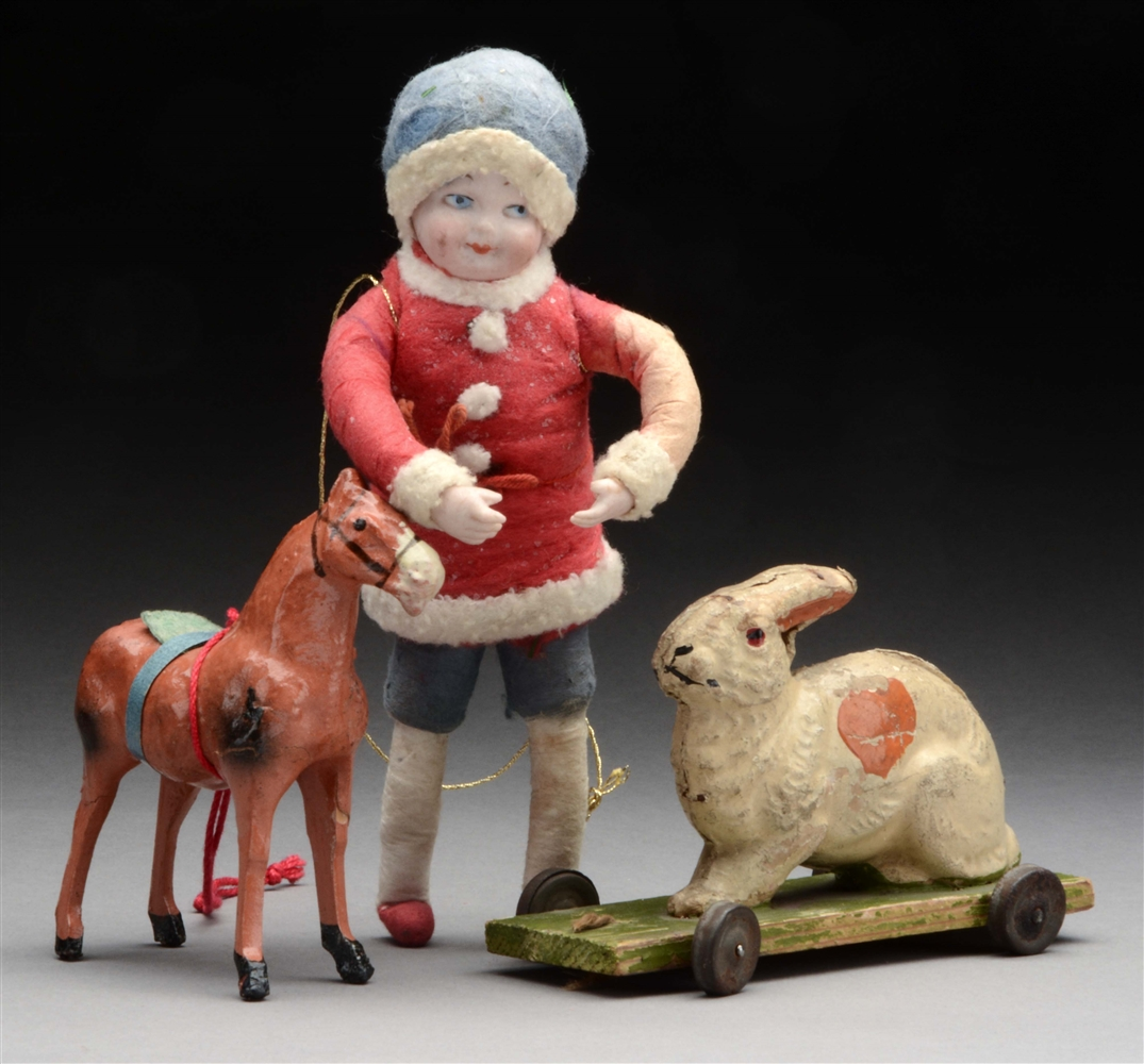 Lot Of 3: Heubach Cotton Boy and Two Toys.