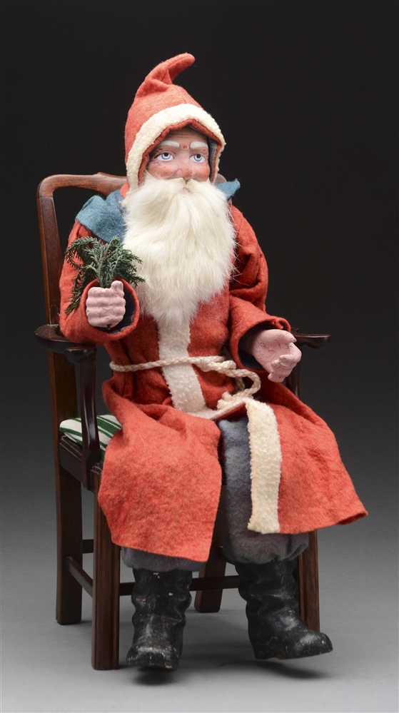 Large German Santa On Wooden Chair.