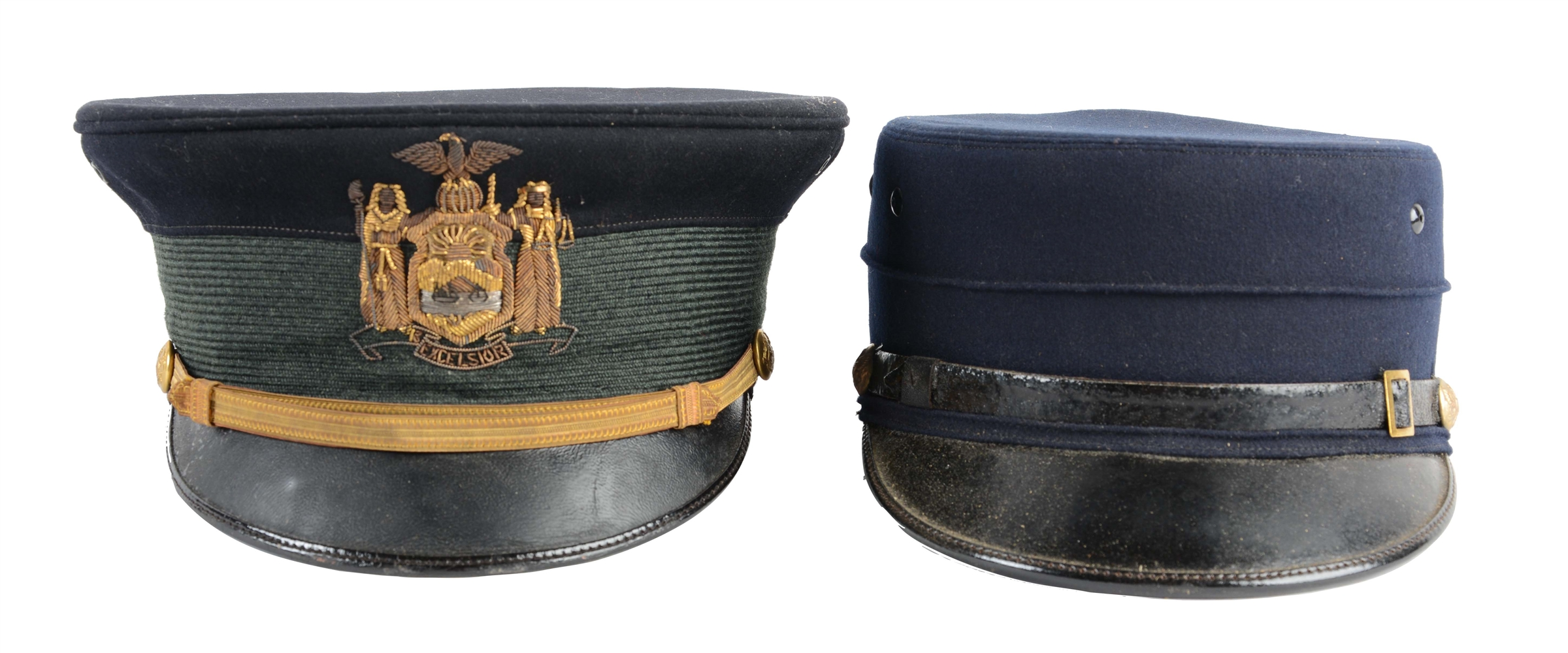 Lot Of 2: Model 1902 NY NG Officers Visor Cap & Model 1895 Enlisted Cap In Original Boxes.