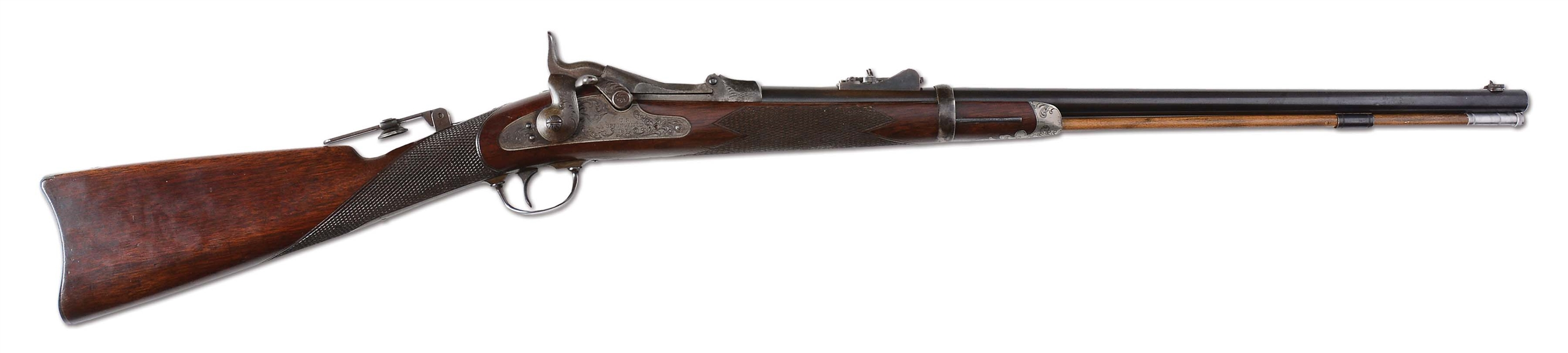 "(A) ENGRAVED SPRINGFIELD 1875 FIRST MODEL  OFFICERS TRAPDOOR RIFLE INSCRIBED ""J. H. ROLLINS""."