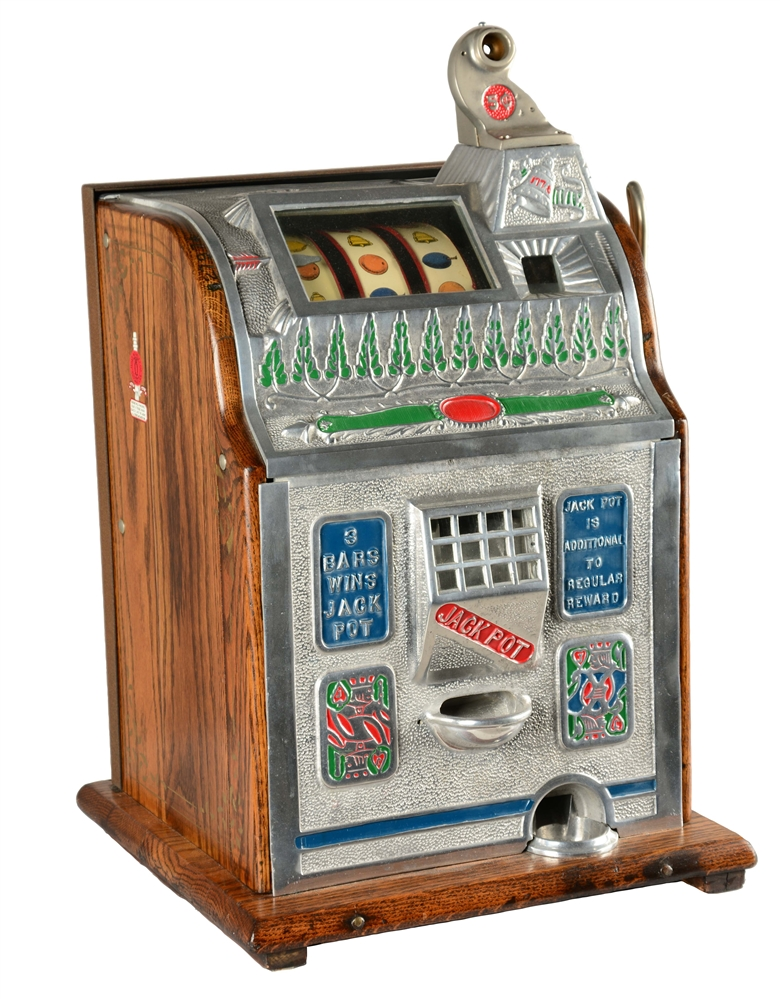 **5¢ MILLS/ROBERTS NOVELTY CO. IMPROVED JACKPOT CONVERSION SLOT MACHINE.