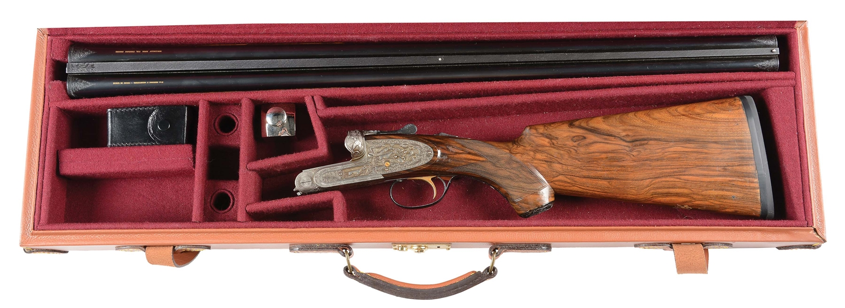 (C) ICONIC GUN WRITER COL. CHARLES ASKINS TEN GAUGE MAGNUM RELIEF GAME SCENE ENGRAVED PRESENTATION CUSTOM AYA SIDELOCK EJECTOR SINGLE TRIGGER SHOTGUN WITH CASE.