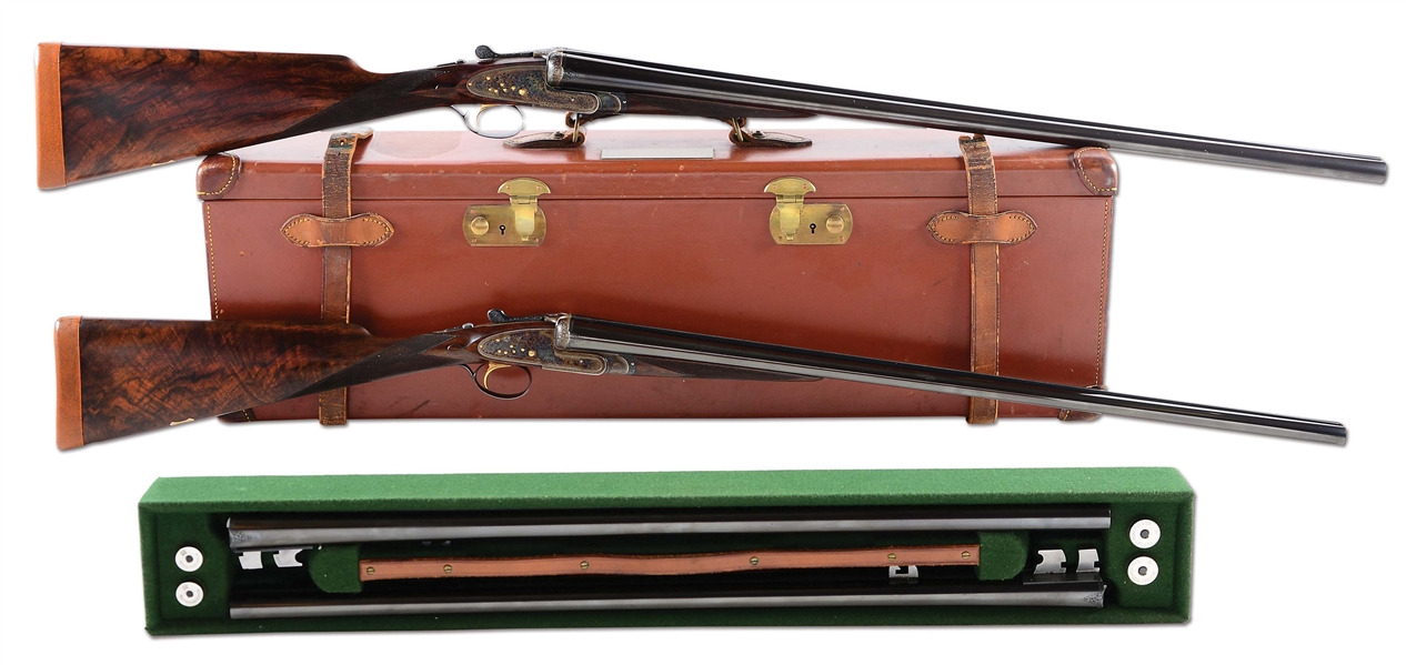 "(C) MATCHED BRACE (12 AND 20 GAUGE) OF WESTLEY RICHARDS ""BEST"" SIDELOCK EJECTOR GAME SHOTGUNS WITH EXTRA BARRELS AND CASE."