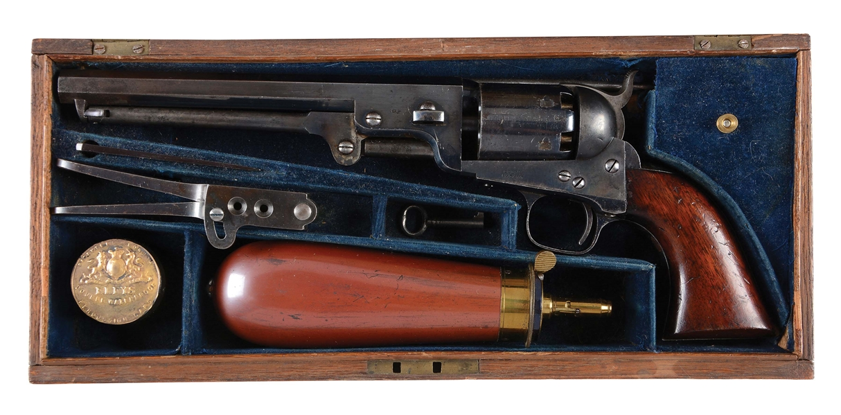 (A) SPECTACULAR CASED LONDON COLT MODEL 1851 PERCUSSION REVOLVER (1855).