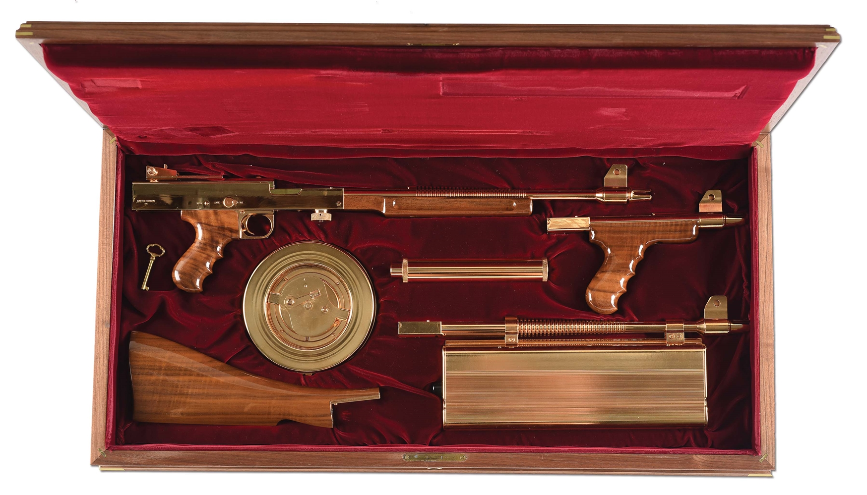 (N) ABSOLUTELY MAGNIFICENT UNFIRED GOLD M-2 LIMITED EDITION AMERICAN ARMS – AMERICAN 180 MACHINE GUN WITH LASER-LOK SIGHT, SILENCER, AND ORIGINAL FACTORY WOODEN DISPLAY CASE (FULLY TRANSFERABLE)