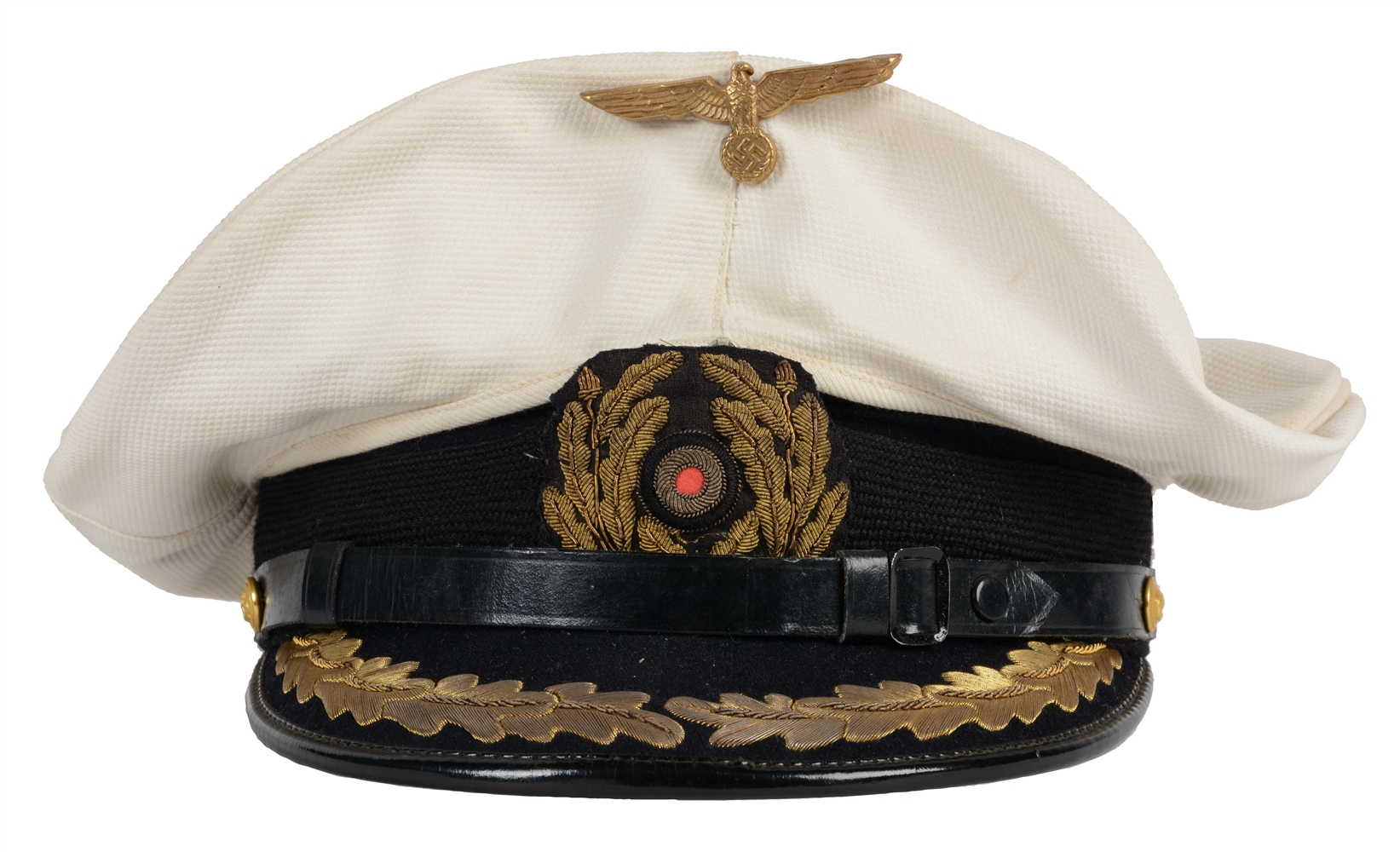 German WWII Kriegsmarine Officers Removable White Top Visor Cap.