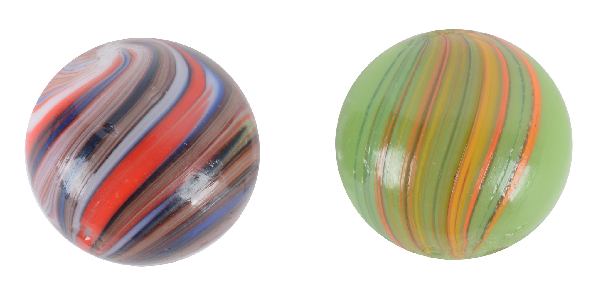 Lot Of 2: Banded Opaque Marbles.