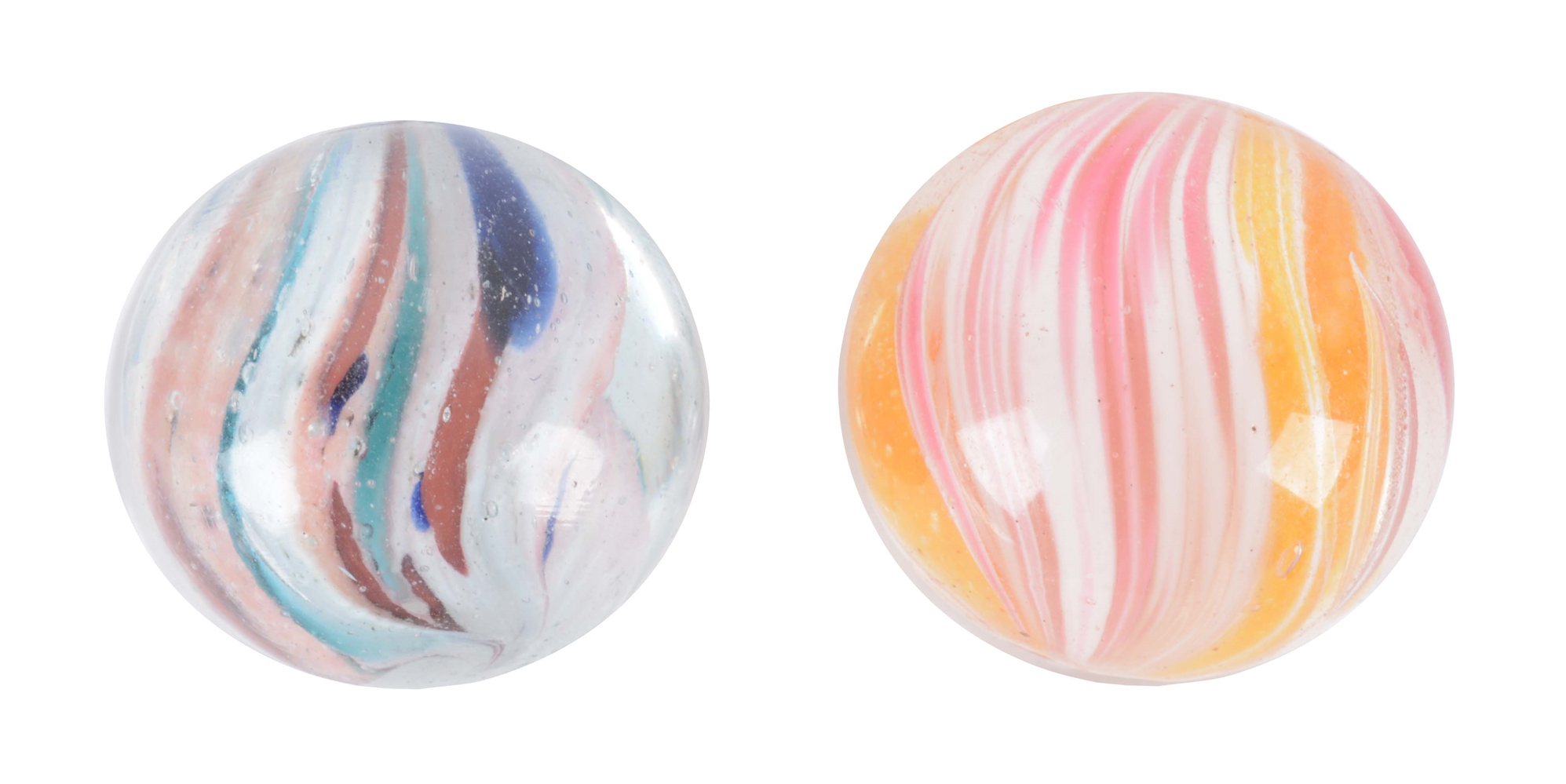 Lot Of 2: Lobed Onionskin Marbles.