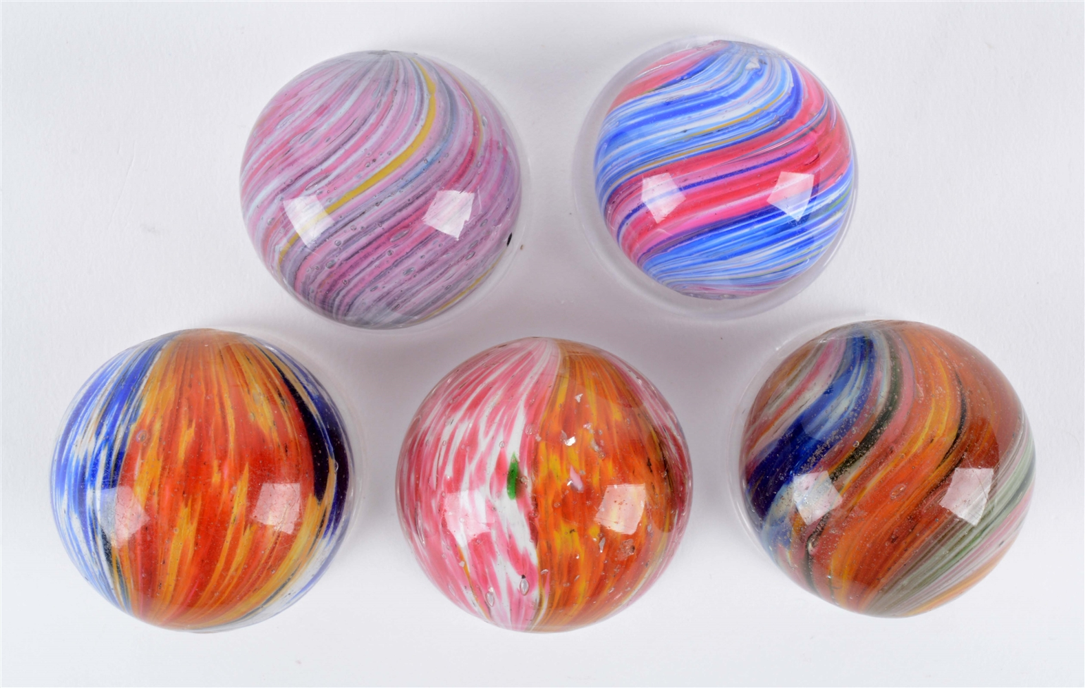 Lot Of 5: Onionskin Marbles