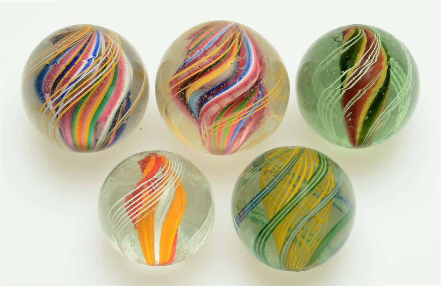 Lot Of 5: Swirl Marbles