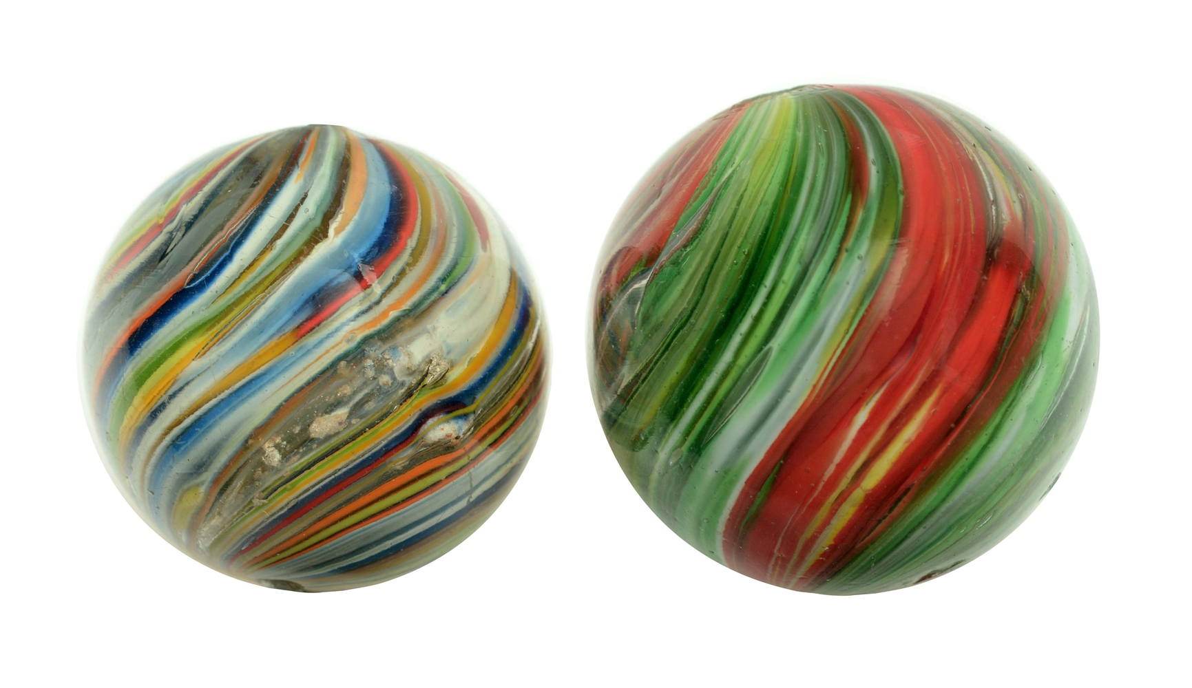 Lot Of 2: Large Josephs Coat Marbles.
