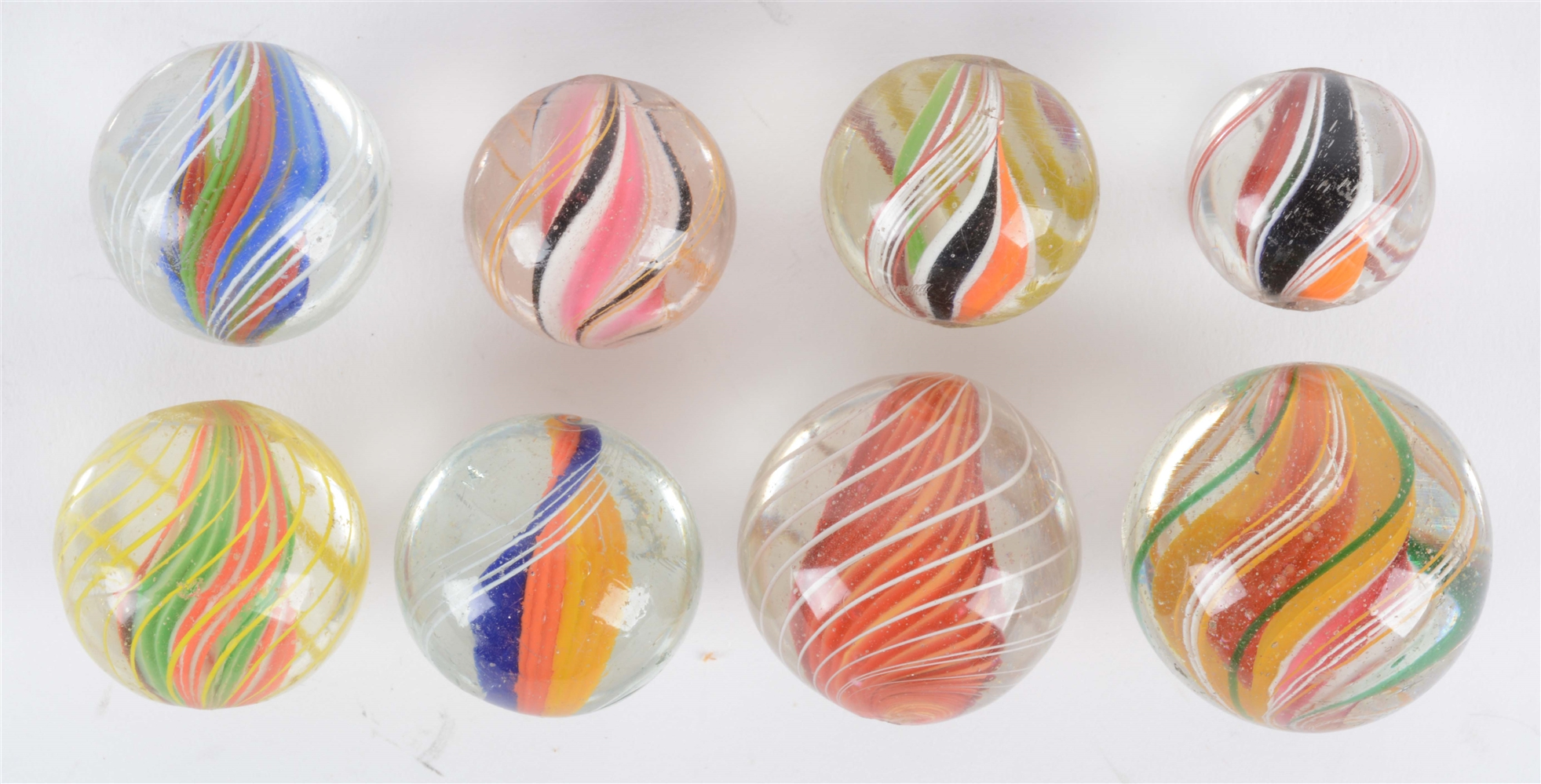 Lot Of 8: Swirl Marbles.