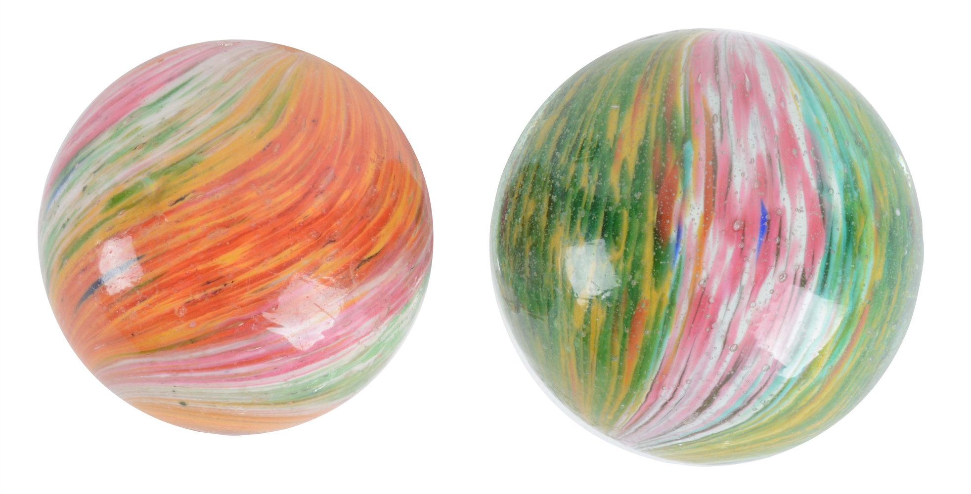 Lot Of 2: Large Onionskin Marbles.
