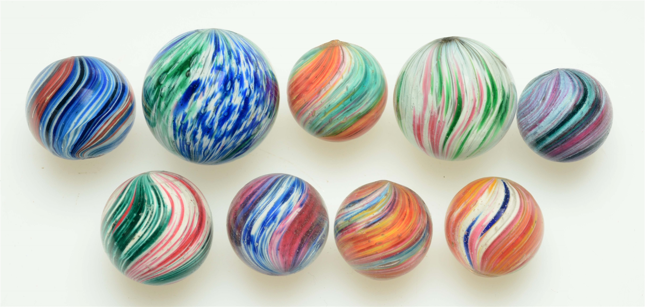 Lot Of 9: Handmade Marbles.