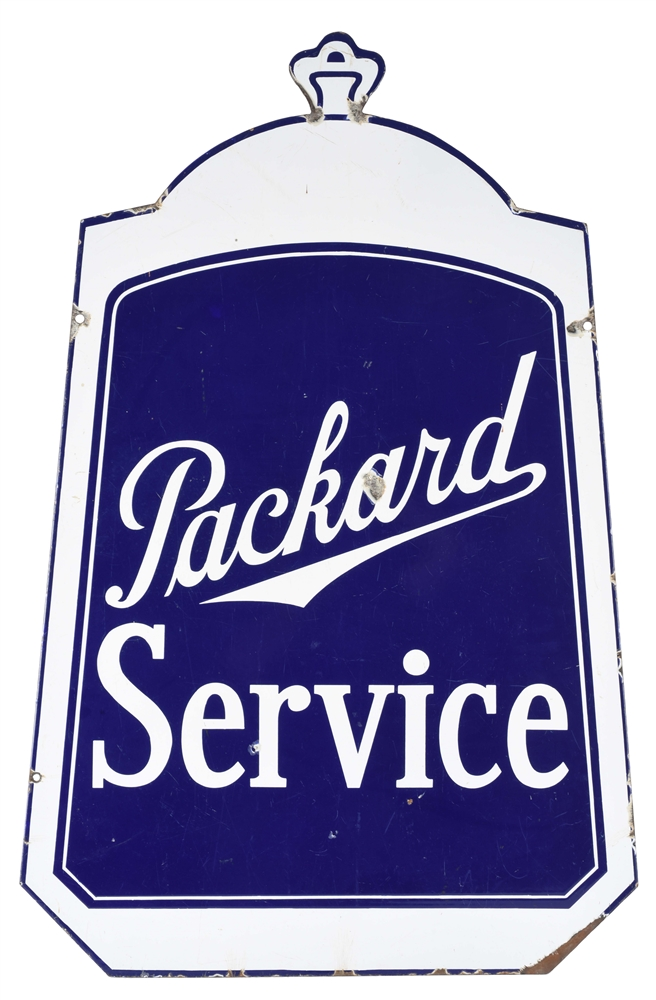 PACKARD SERVICE DIE-CUT RADIATOR PORCELAIN SIGN.