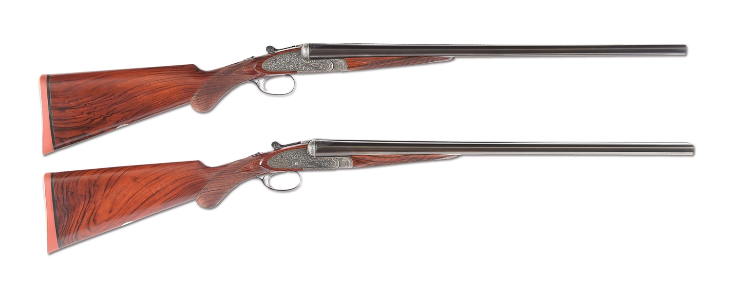 "(C) NICELY REFURBISHED PAIR OF E. J. CHURCHILL PINLESS ""PREMIER"" XXV SIDELOCK EJECTOR SINGLE TRIGGER SHOTGUNS WITH ORIGINAL  CASE"