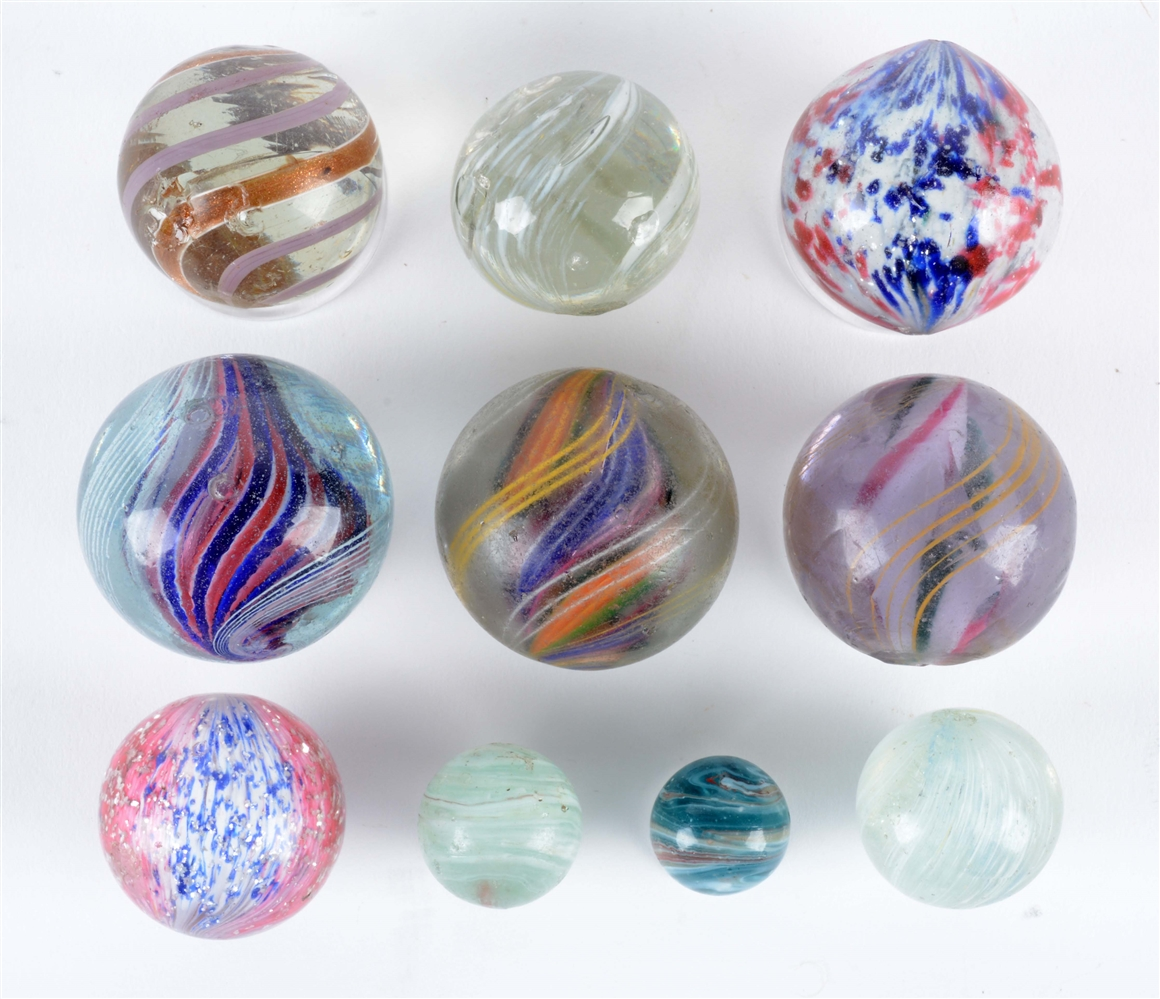 Lot Of 10: Handmade Marbles.