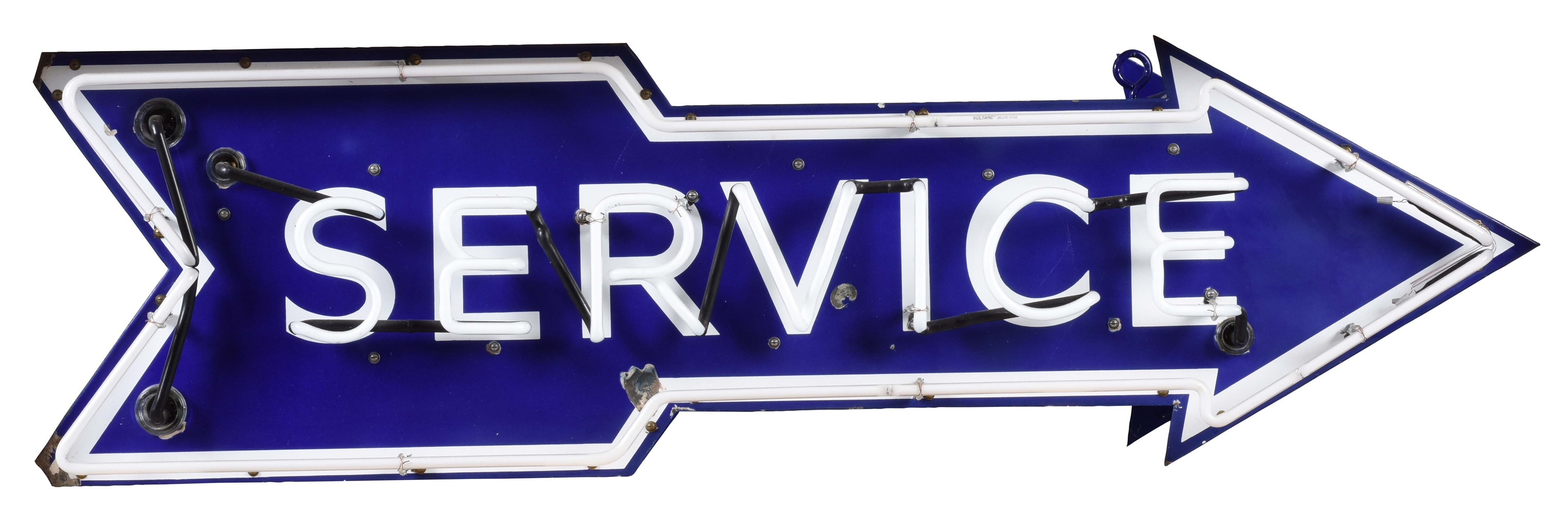 AUTOMOTIVE SERVICE DIE-CUT ARROW DOUBLE SIDED PORCELAIN NEON SIGN.