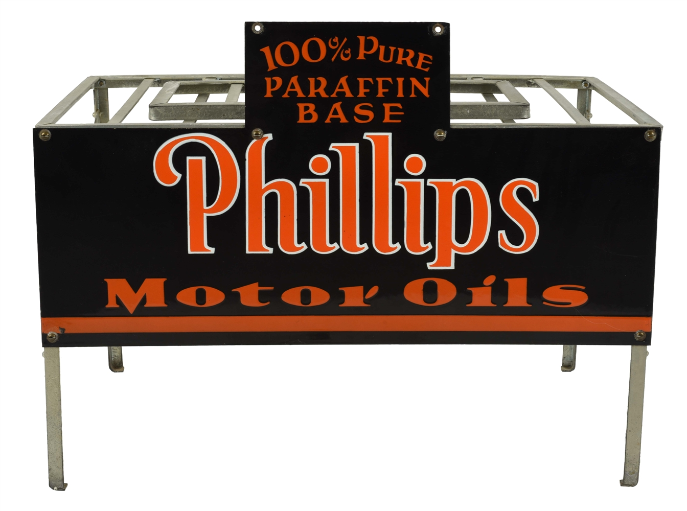 RARE PHILLIPS 66 MOTOR OILS PORCELAIN RACK SIGN WITH ORIGINAL METAL RACK.
