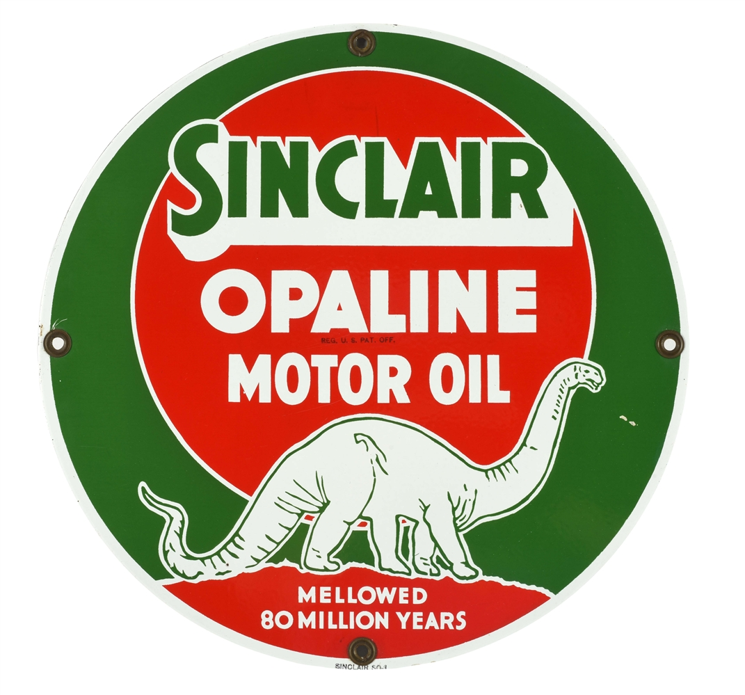 "VERY RARE SINCLAIR OPALINE MOTOR OIL 16"" PORCELAIN SIGN WITH DINO GRAPHIC."