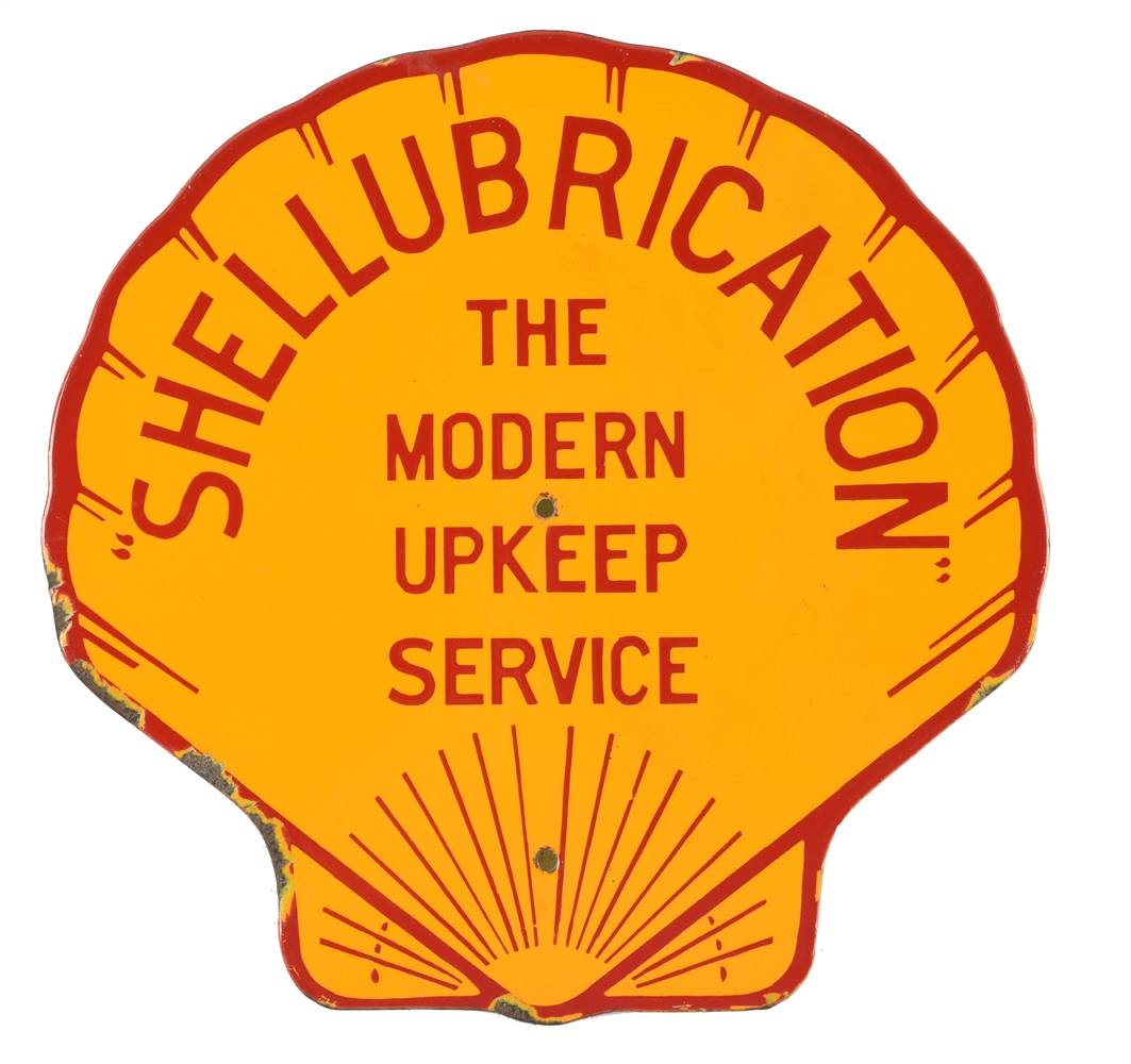 SHELL GASOLINE & MOTOR OIL SHELLUBRICATION PORCELAIN RACK SIGN.