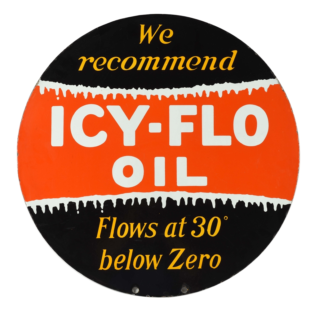 ICY FLO MOTOR OIL PORCELAIN CURB SIGN.