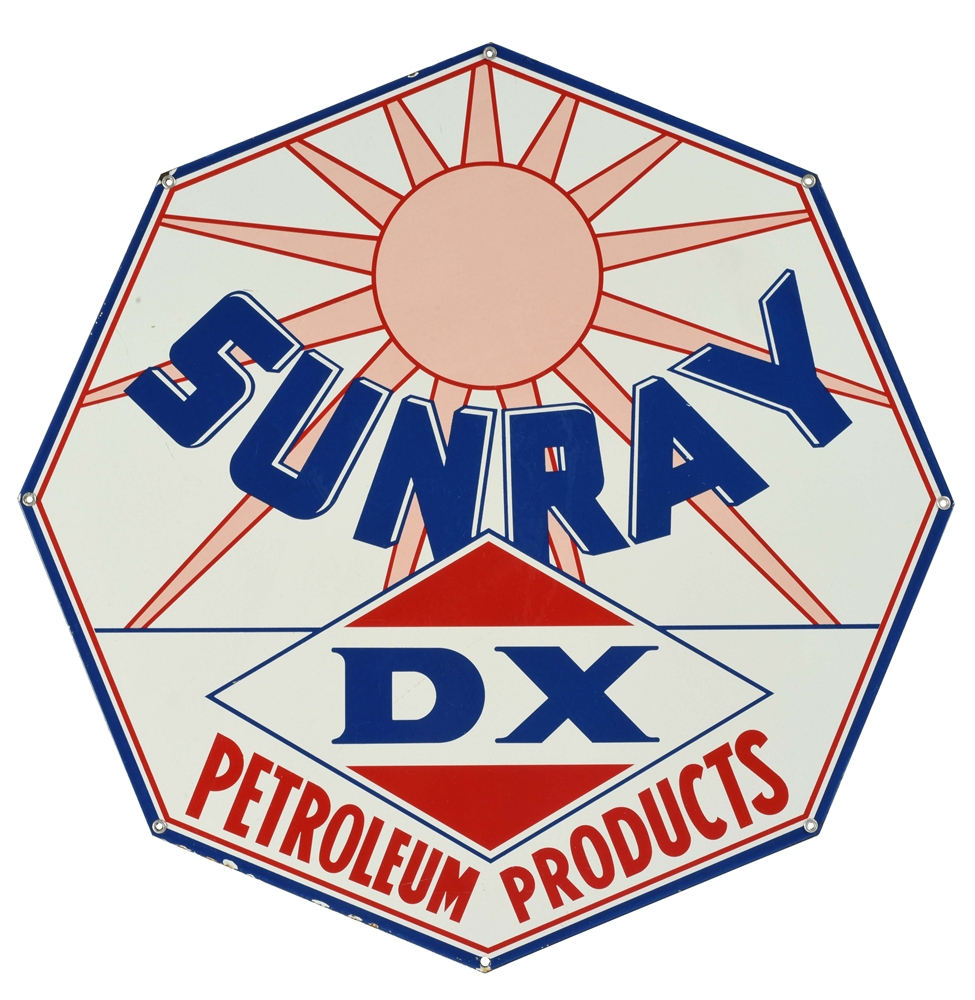 Very Rare DX Sunray Petroleum Products Albino Porcelain Curb Sign.