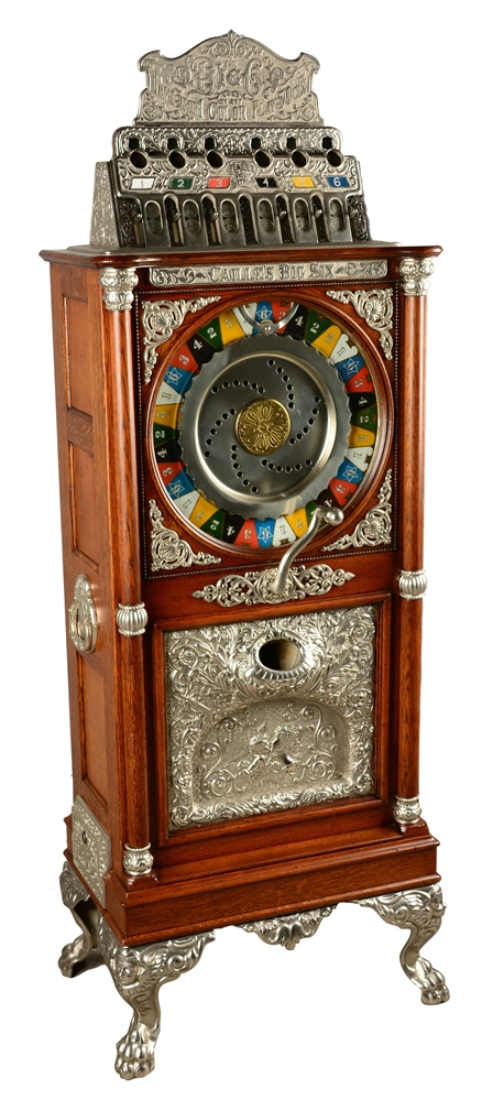 **50¢ CAILLE BROS. BIG SIX UPRIGHT SLOT MACHINE.