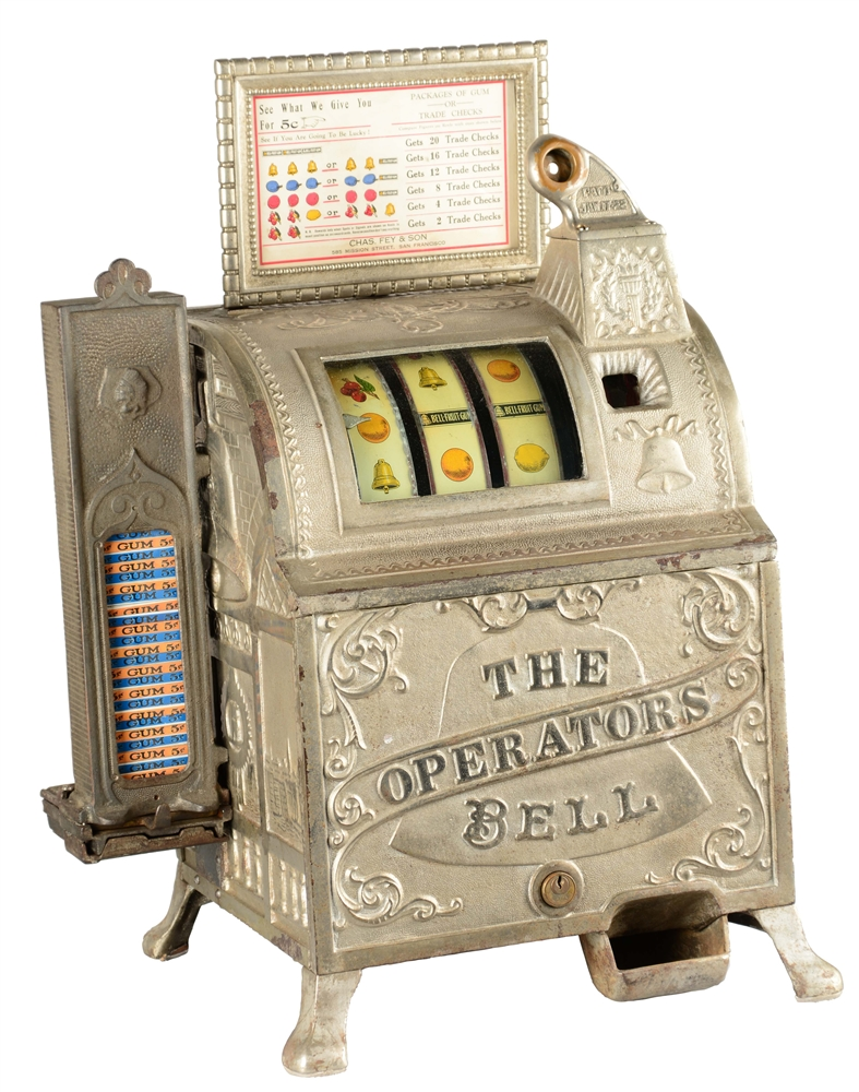 **5¢ MILLS/FEY REVAMP OPERATORS BELL SLOT MACHINE WITH SIDE VENDOR.
