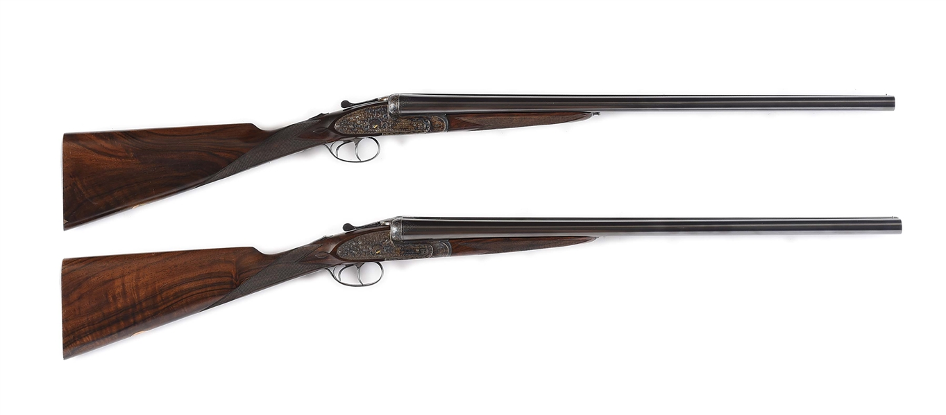 (M) PAIR OF PEDRO ARRIZABALAGA XXV ENGLISH SCROLL SIDELOCK EJECTOR SHOTGUNS MADE FOR J. ROBERTS OF LONDON WITH CASE
