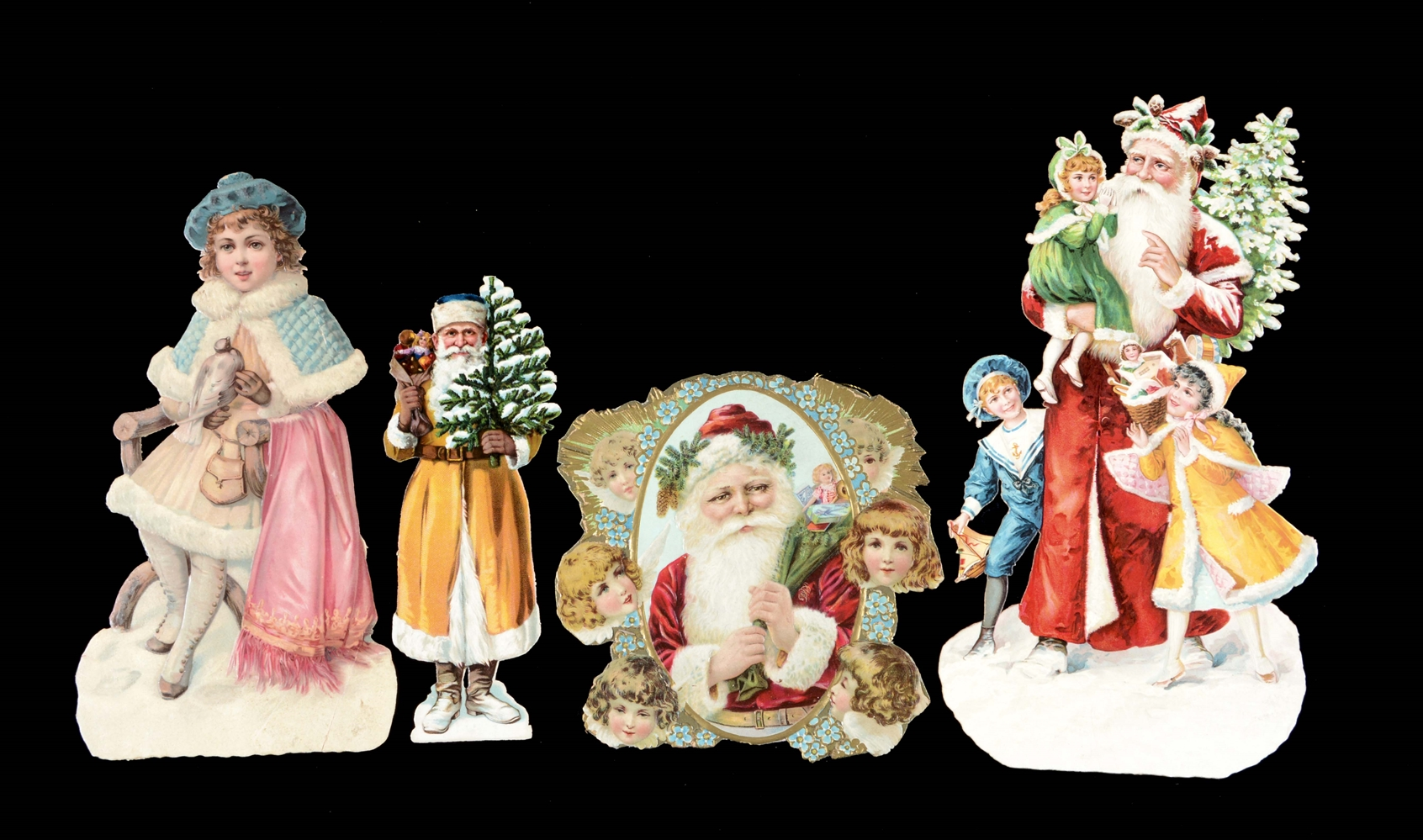 Lot Of 4: Victorian Christmas Die-Cuts.