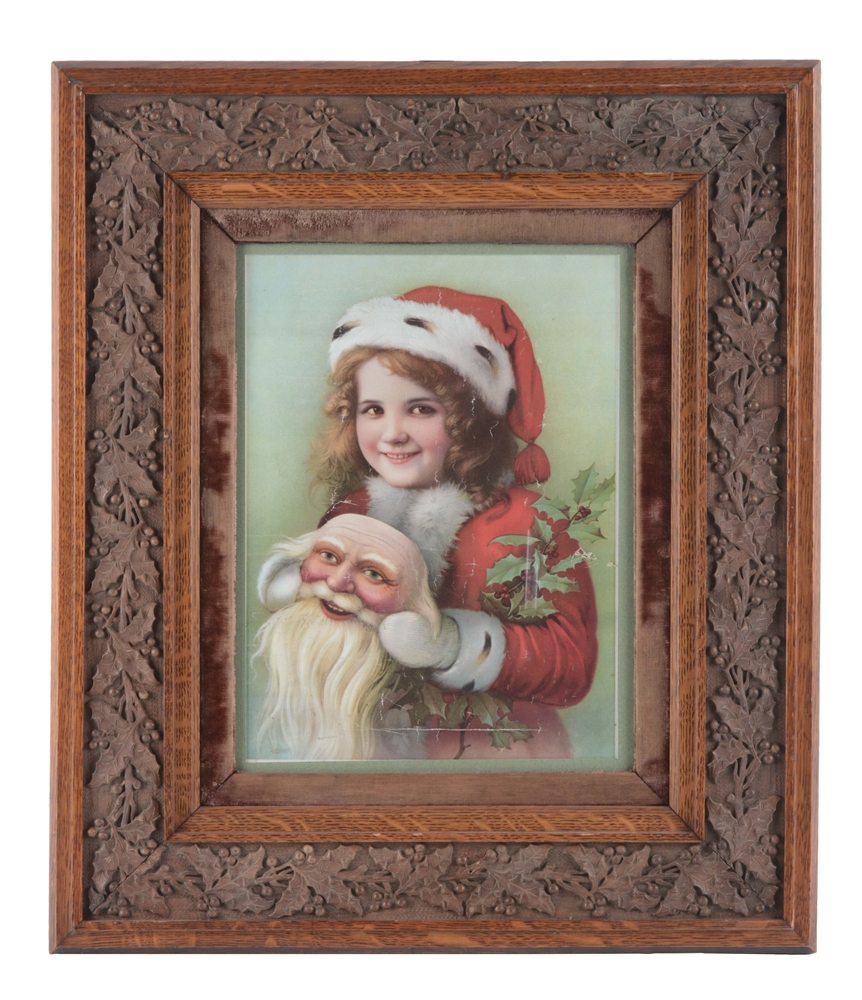 Print of a Girl in Snow Clothes Holding a Santa Mask In Holly Frame.